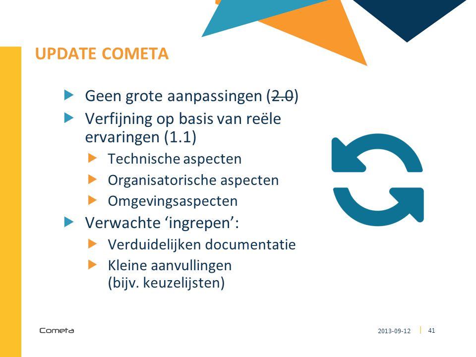 2013-09-12 41 | UPDATE COMETA  Geen grote aanpassingen (2.0)  Verfijning op basis van reële ervaringen (1.1)  Technische aspecten  Organisatorische aspecten  Omgevingsaspecten  Verwachte 'ingrepen':  Verduidelijken documentatie  Kleine aanvullingen (bijv.
