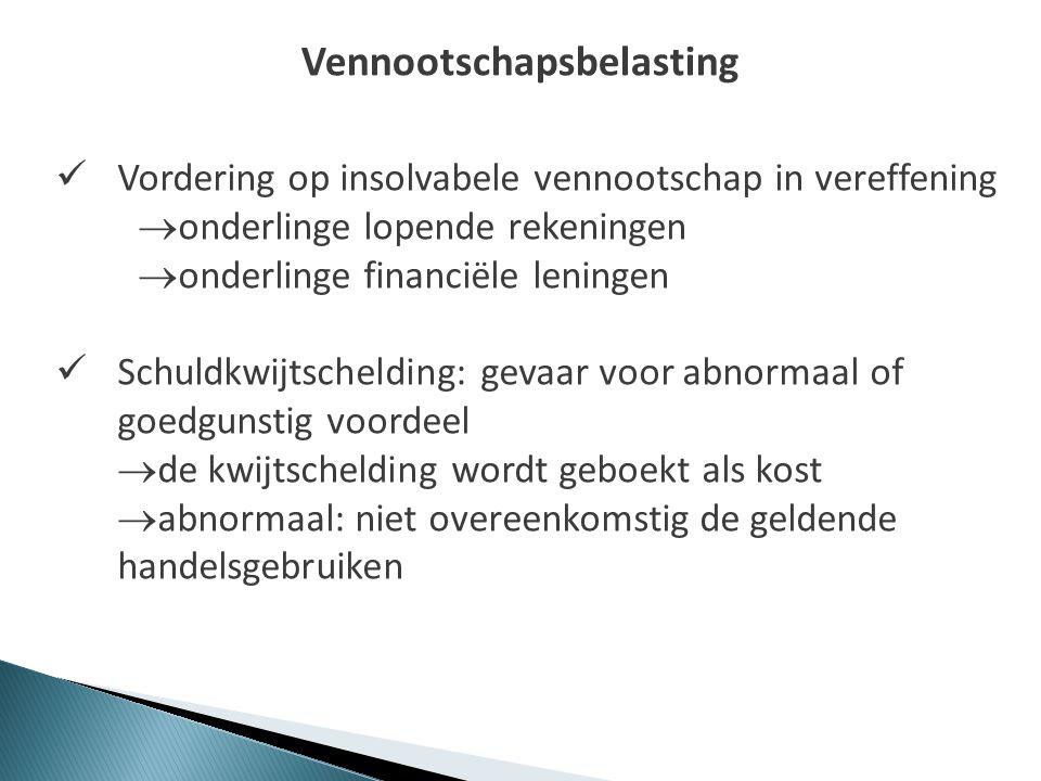 Vennootschapsbelasting  Vordering op insolvabele vennootschap in vereffening  onderlinge lopende rekeningen  onderlinge financiële leningen  Schul
