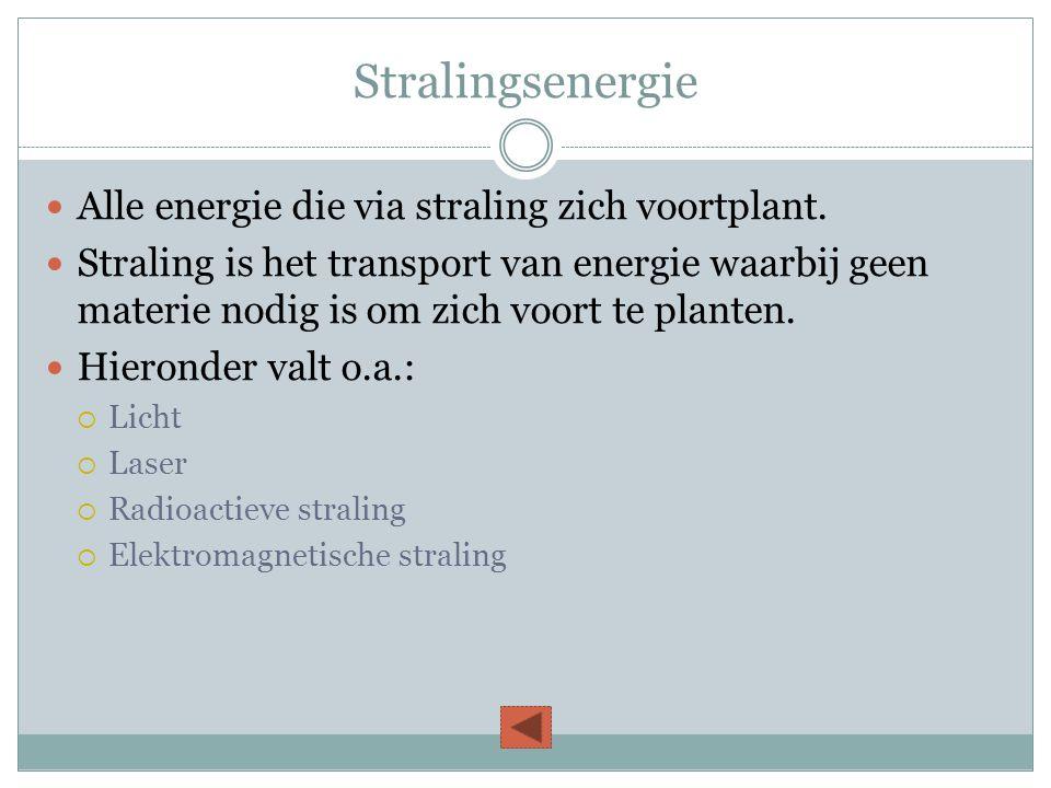 Stralingsenergie  Alle energie die via straling zich voortplant.  Straling is het transport van energie waarbij geen materie nodig is om zich voort