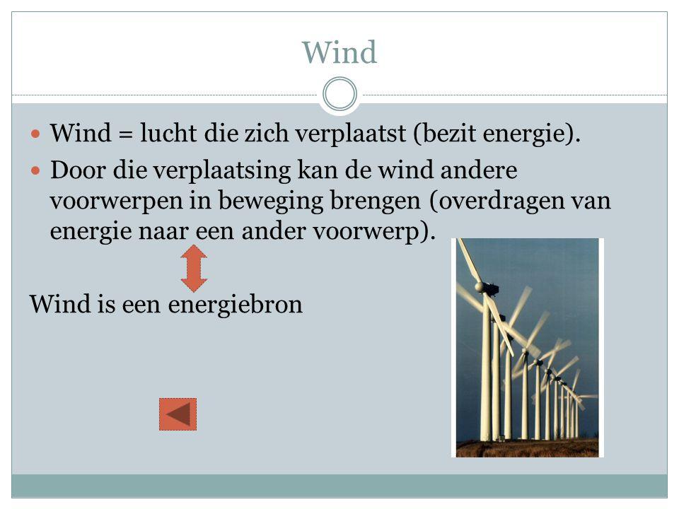 Wind  Wind = lucht die zich verplaatst (bezit energie).  Door die verplaatsing kan de wind andere voorwerpen in beweging brengen (overdragen van ene