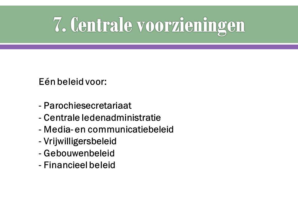 Eén beleid voor: - Parochiesecretariaat - Centrale ledenadministratie - Media- en communicatiebeleid - Vrijwilligersbeleid - Gebouwenbeleid - Financie