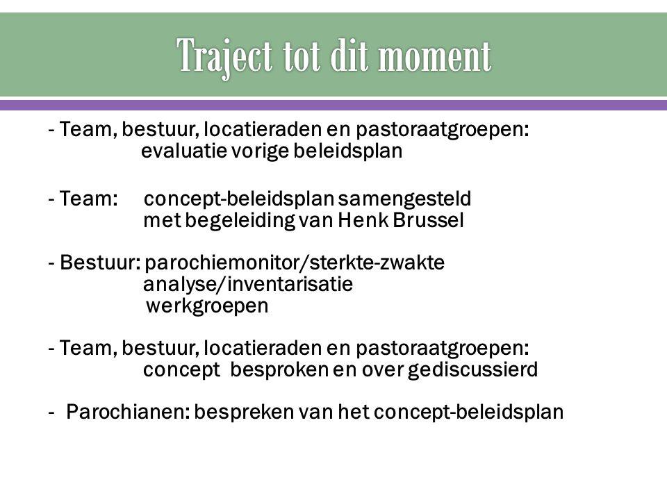 - Team, bestuur, locatieraden en pastoraatgroepen: evaluatie vorige beleidsplan - Team: concept-beleidsplan samengesteld met begeleiding van Henk Brus