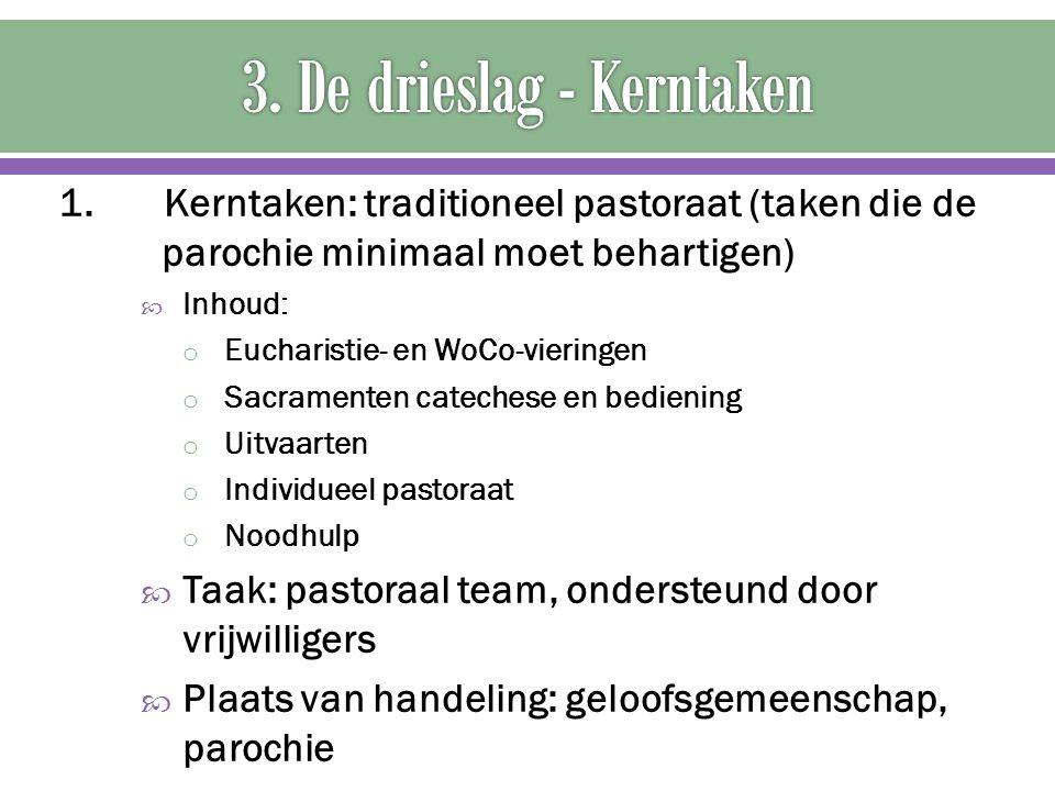 1. Kerntaken: traditioneel pastoraat (taken die de parochie minimaal moet behartigen)  Inhoud: o Eucharistie- en WoCo-vieringen o Sacramenten cateche