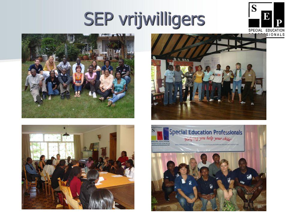 Activiteiten van SEP  Opleiden en trainen van SEP-vrijwilligers  Consultaties en vroege interventies  Ondersteuning voor de ouders  Ondersteuning voor leerkrachten  Ondersteuning voor organisaties die mindervalide kinderen opvangen  In de aandacht brengen van mindervalide kinderen in Kenia, want nog groot taboe