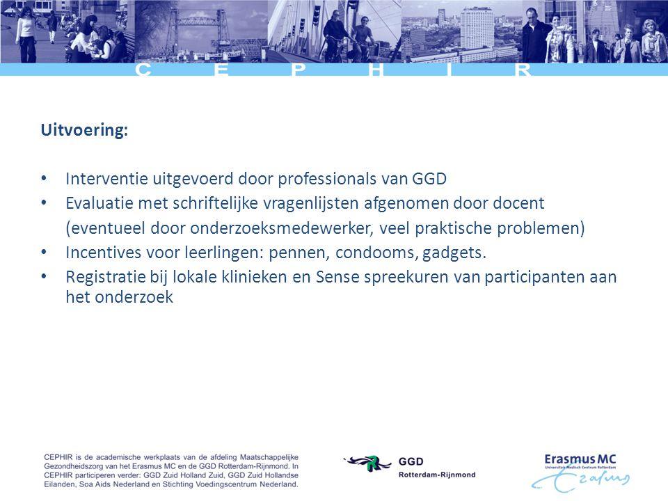 Uitvoering: • Interventie uitgevoerd door professionals van GGD • Evaluatie met schriftelijke vragenlijsten afgenomen door docent (eventueel door onde