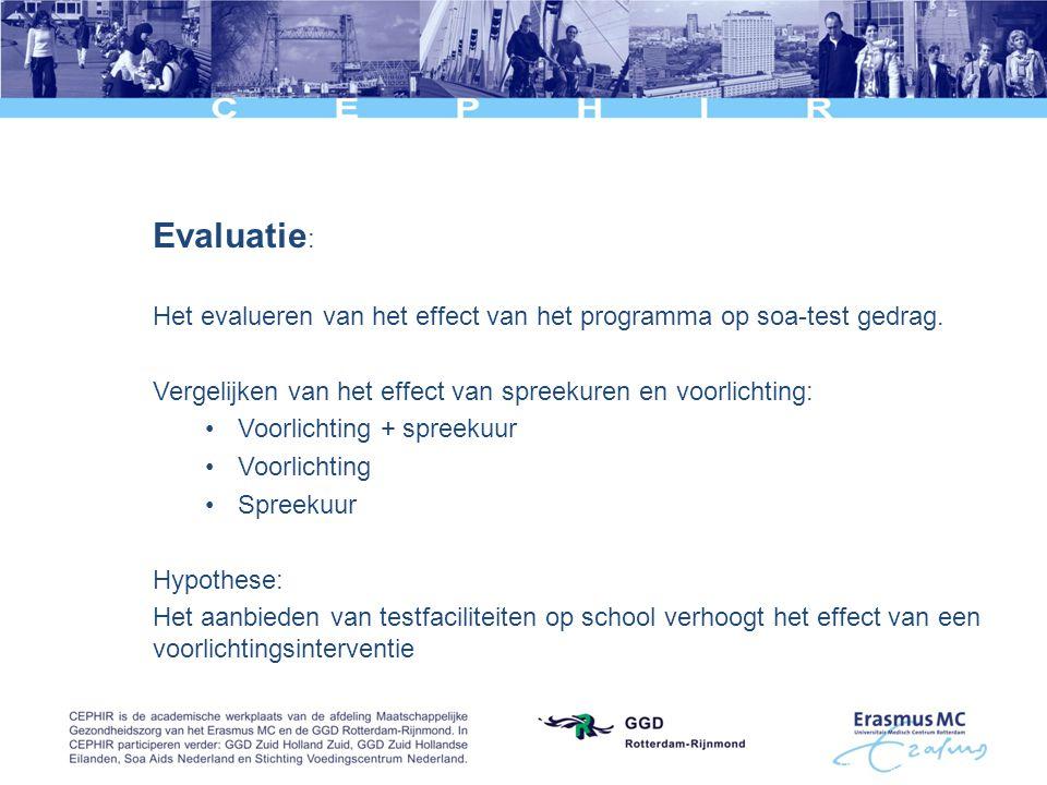 Evaluatie : Het evalueren van het effect van het programma op soa-test gedrag. Vergelijken van het effect van spreekuren en voorlichting: •Voorlichtin