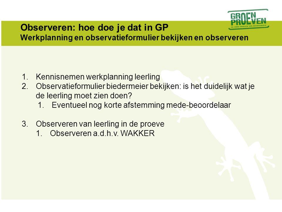 Observeren: hoe doe je dat in GP Werkplanning en observatieformulier bekijken en observeren 1.Kennisnemen werkplanning leerling 2.Observatieformulier