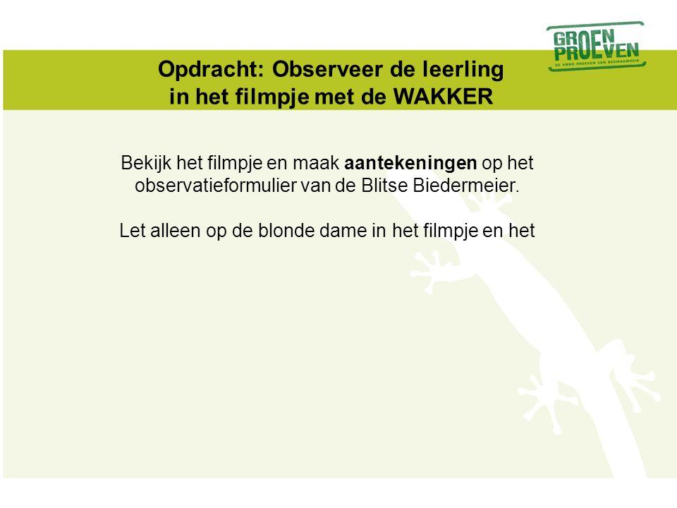 Opdracht: Observeer de leerling in het filmpje met de WAKKER Bekijk het filmpje en maak aantekeningen op het observatieformulier van de Blitse Biederm
