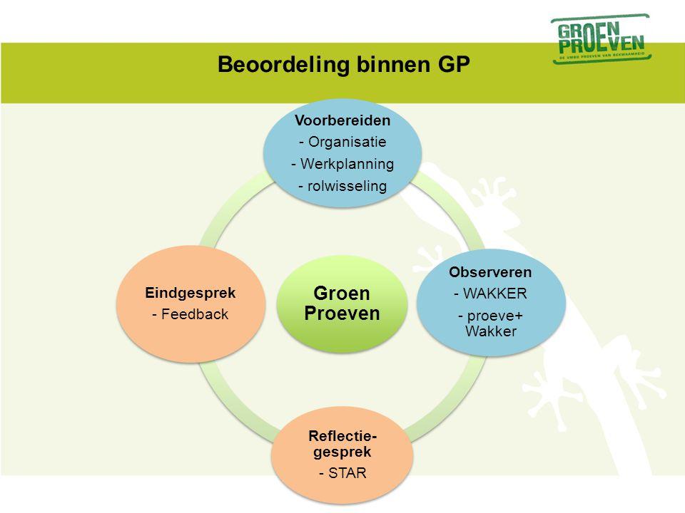 Beoordeling binnen GP Groen Proeven Voorbereiden - Organisatie - Werkplanning - rolwisseling Observeren - WAKKER - proeve+ Wakker Reflectie- gesprek -