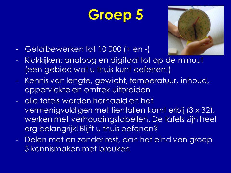 Groep 5 -Getalbewerken tot 10 000 (+ en -) -Klokkijken: analoog en digitaal tot op de minuut (een gebied wat u thuis kunt oefenen!) -Kennis van lengte