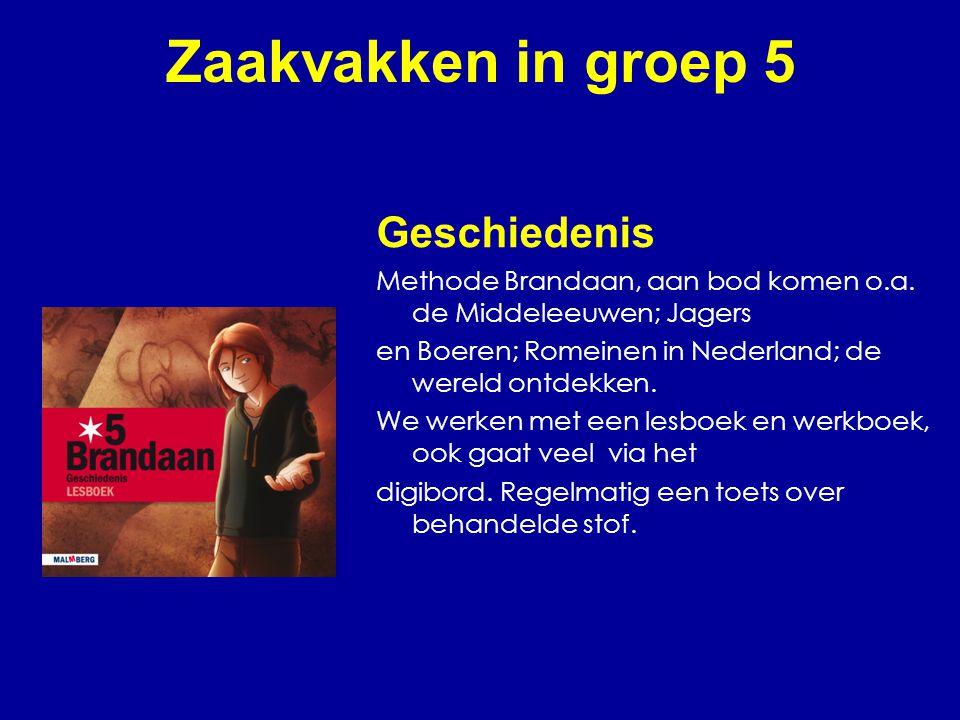 Zaakvakken in groep 5 Geschiedenis Methode Brandaan, aan bod komen o.a. de Middeleeuwen; Jagers en Boeren; Romeinen in Nederland; de wereld ontdekken.