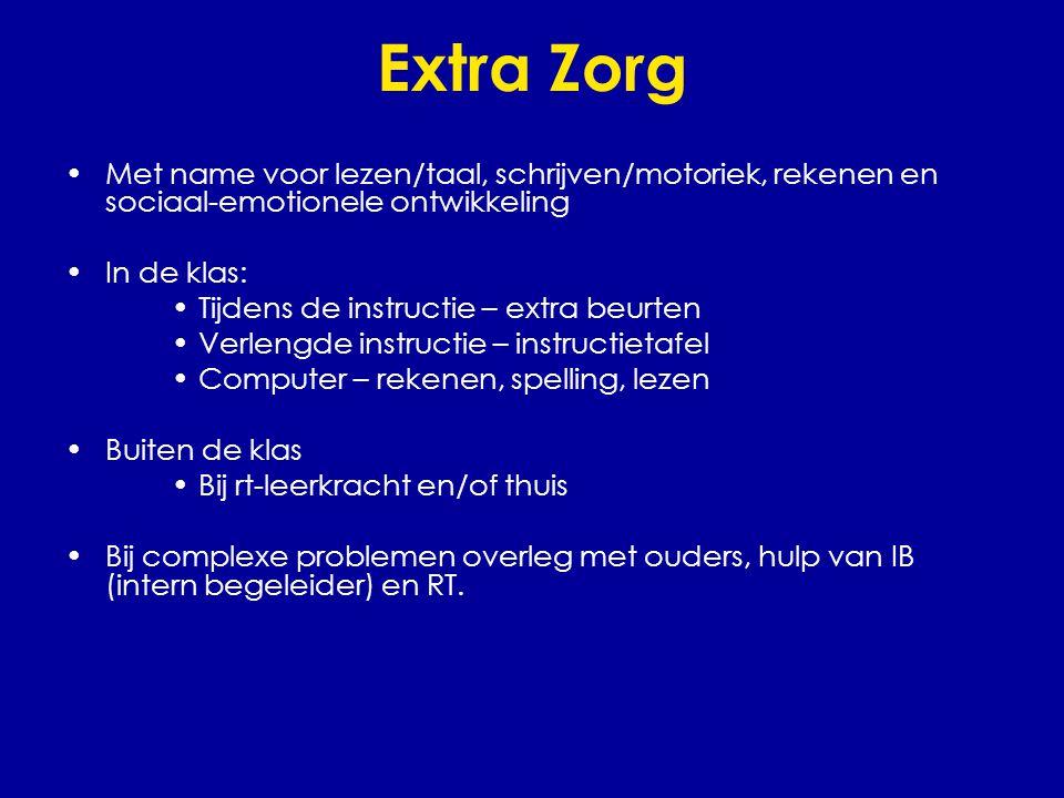 Extra Zorg •Met name voor lezen/taal, schrijven/motoriek, rekenen en sociaal-emotionele ontwikkeling •In de klas: •Tijdens de instructie – extra beurt