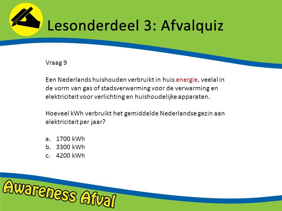 Vraag 9 Een Nederlands huishouden verbruikt in huis energie, veelal in de vorm van gas of stadsverwarming voor de verwarming en elektriciteit voor verlichting en huishoudelijke apparaten.