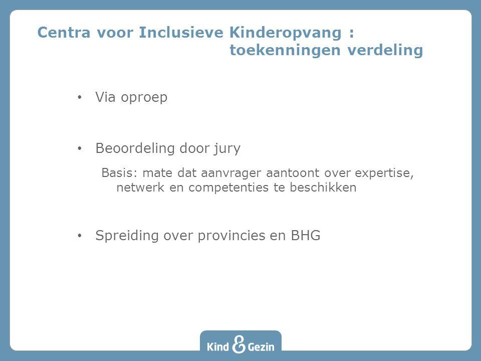• Via oproep • Beoordeling door jury Basis: mate dat aanvrager aantoont over expertise, netwerk en competenties te beschikken • Spreiding over provincies en BHG Centra voor Inclusieve Kinderopvang : toekenningen verdeling