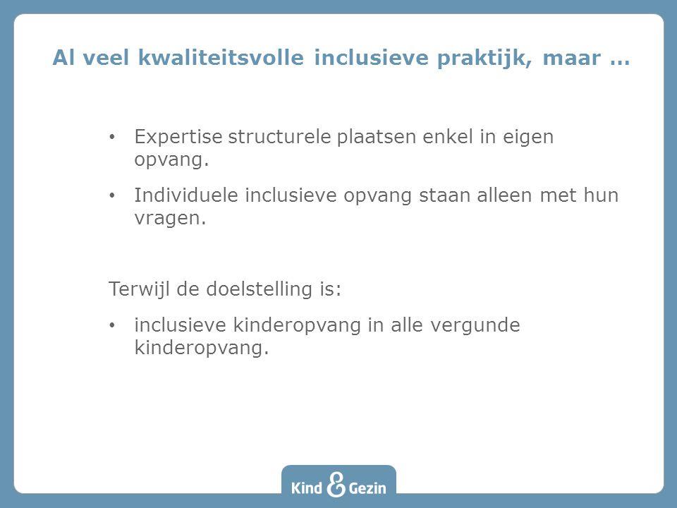 0,5 mio euro aan extra middelen voor inclusieve kinderopvang • Bron van de middelen: VAPH ikv Perspectiefplan 2020 – zo weinig mogelijk uitzonderlijk of afzonderlijk en zo veel mogelijk gewoon, – expliciete rol voor de kinderopvang.