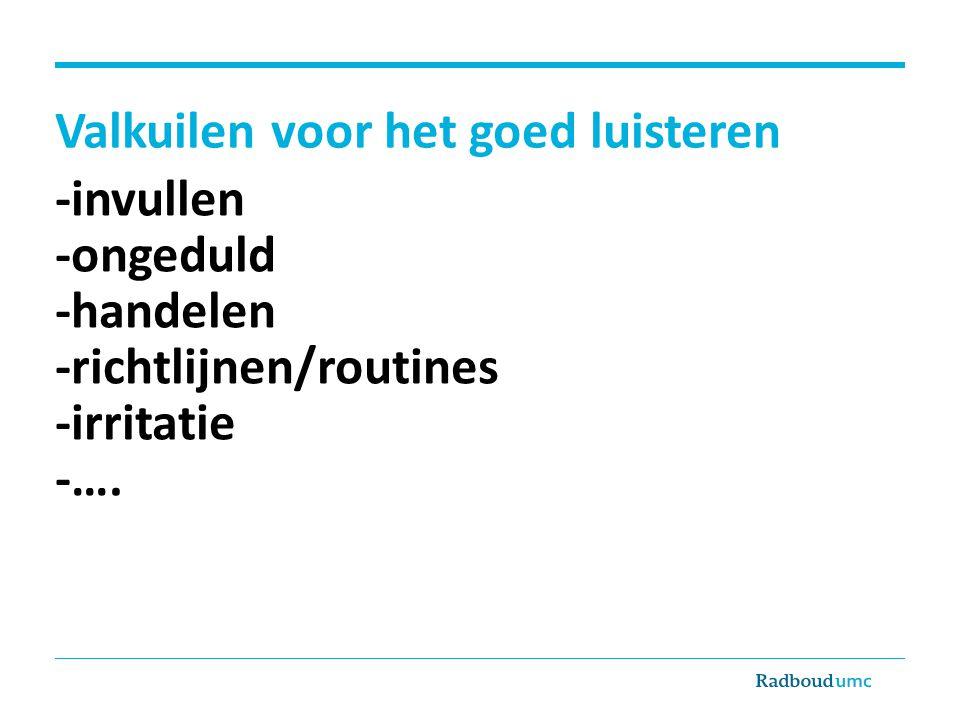 Valkuilen voor het goed luisteren -invullen -ongeduld -handelen -richtlijnen/routines -irritatie -….