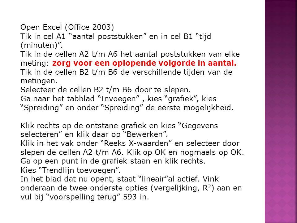 """Open Excel (Office 2003) Tik in cel A1 """"aantal poststukken"""" en in cel B1 """"tijd (minuten)"""". Tik in de cellen A2 t/m A6 het aantal poststukken van elke"""