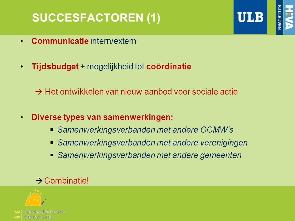 SUCCESFACTOREN (1) •Communicatie intern/extern •Tijdsbudget + mogelijkheid tot coördinatie  Het ontwikkelen van nieuw aanbod voor sociale actie •Dive