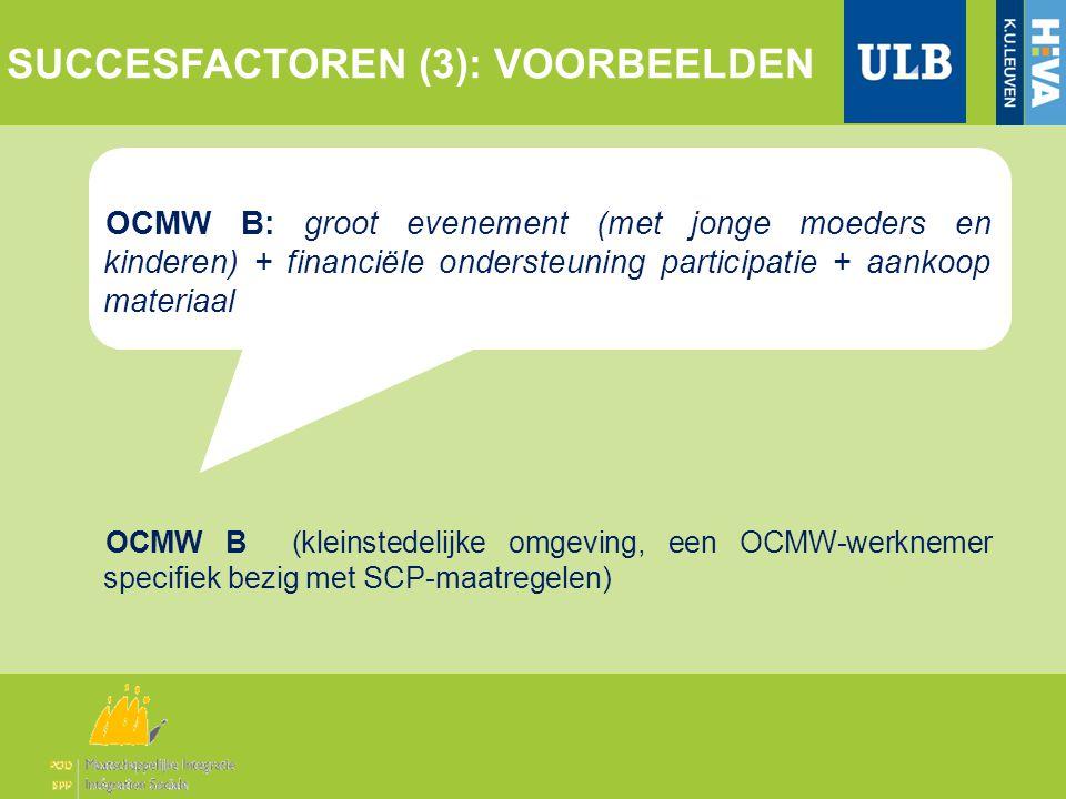 OCMW B: groot evenement (met jonge moeders en kinderen) + financiële ondersteuning participatie + aankoop materiaal OCMW B (kleinstedelijke omgeving, een OCMW-werknemer specifiek bezig met SCP-maatregelen) SUCCESFACTOREN (3): VOORBEELDEN