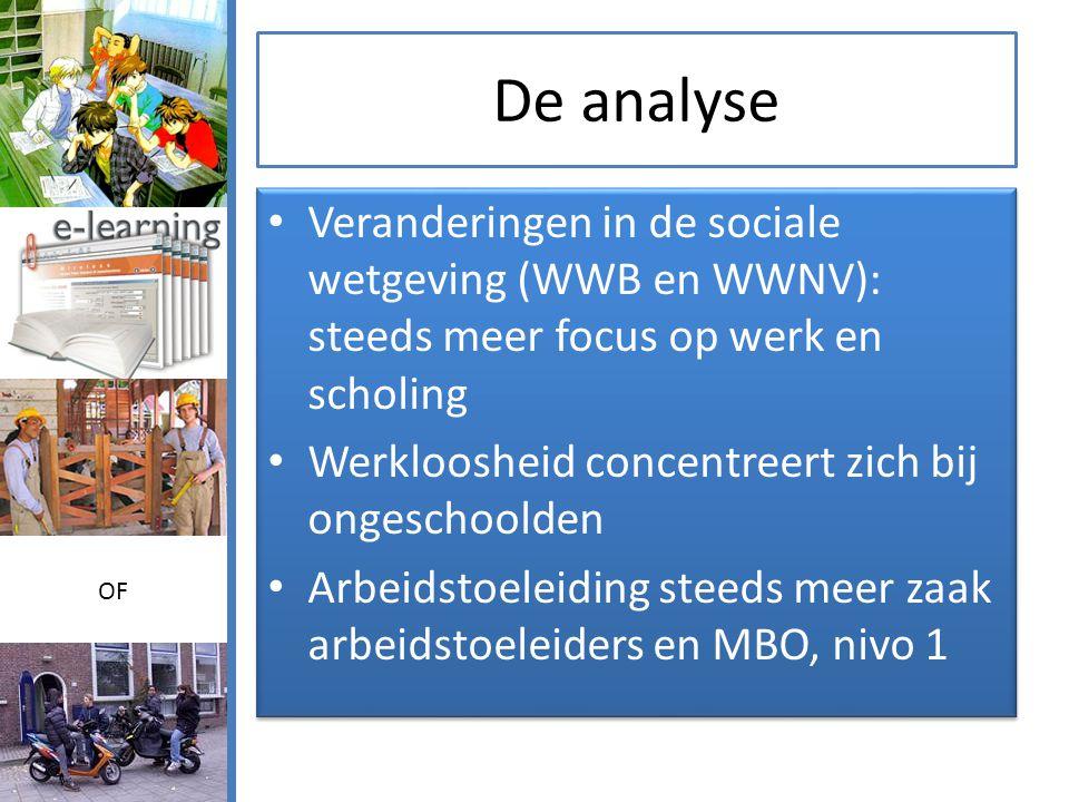 De analyse • Veranderingen in de sociale wetgeving (WWB en WWNV): steeds meer focus op werk en scholing • Werkloosheid concentreert zich bij ongeschoolden • Arbeidstoeleiding steeds meer zaak arbeidstoeleiders en MBO, nivo 1 • Veranderingen in de sociale wetgeving (WWB en WWNV): steeds meer focus op werk en scholing • Werkloosheid concentreert zich bij ongeschoolden • Arbeidstoeleiding steeds meer zaak arbeidstoeleiders en MBO, nivo 1 OF