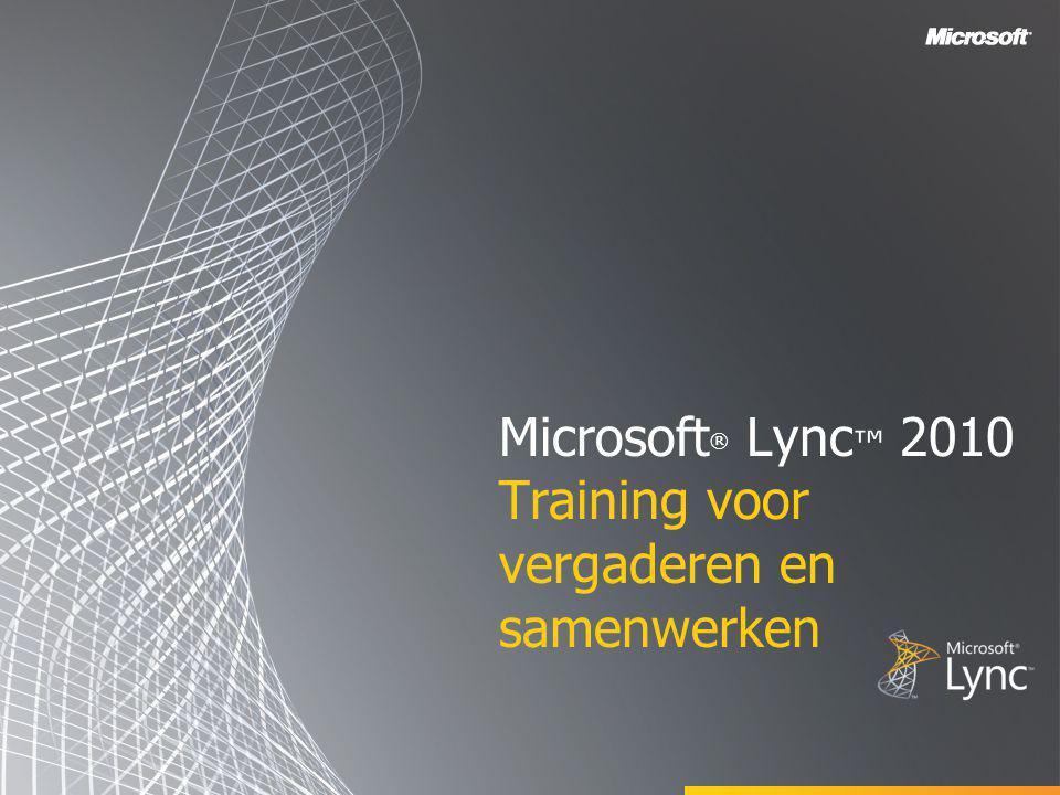 Microsoft ® Lync™ 2010 Attendee T ERUG NAAR D OELSTELLINGEN In dit gedeelte vindt u het volgende: •Lync Attendee •Deelnemen aan een vergadering via Lync Attendee •Geluid en beeld instellen •Opties in Lync Attendee