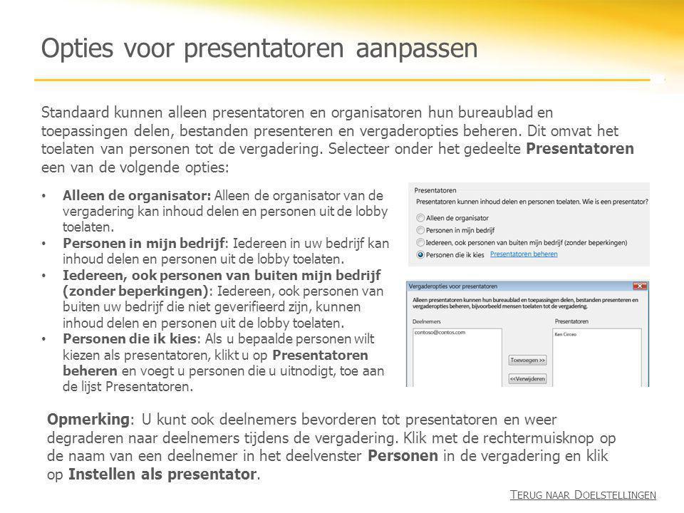 Opties voor presentatoren aanpassen Standaard kunnen alleen presentatoren en organisatoren hun bureaublad en toepassingen delen, bestanden presenteren