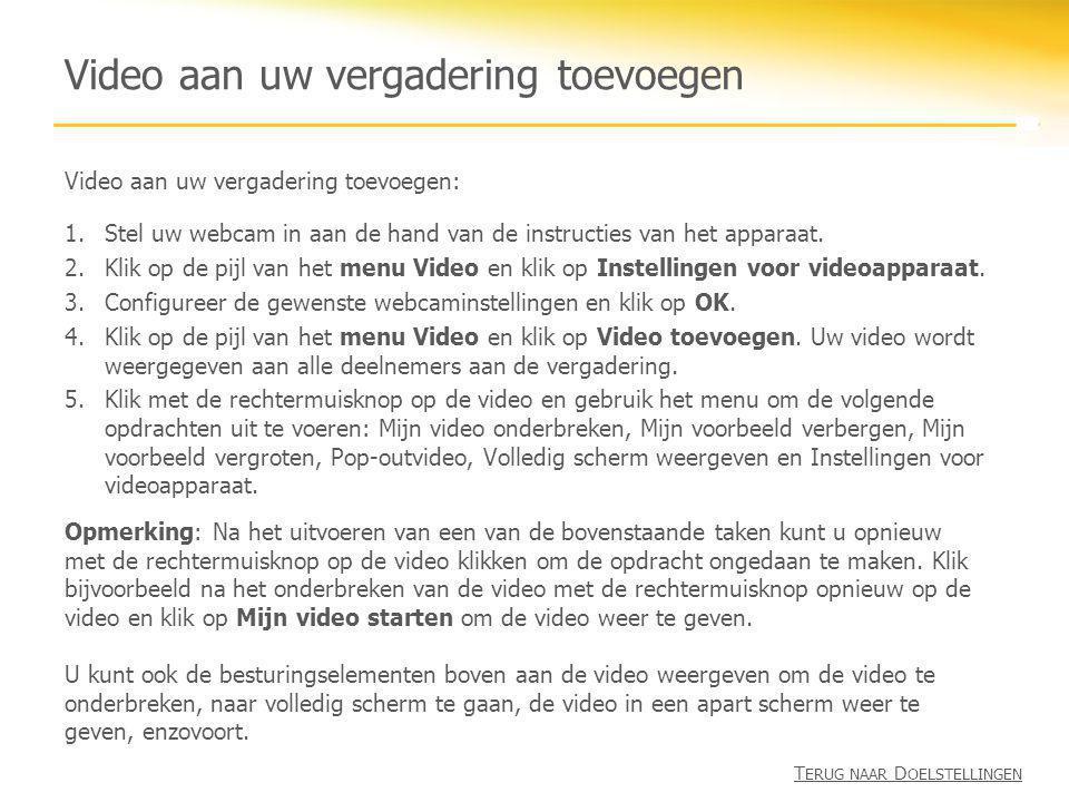Video aan uw vergadering toevoegen Video aan uw vergadering toevoegen: 1.Stel uw webcam in aan de hand van de instructies van het apparaat. 2.Klik op
