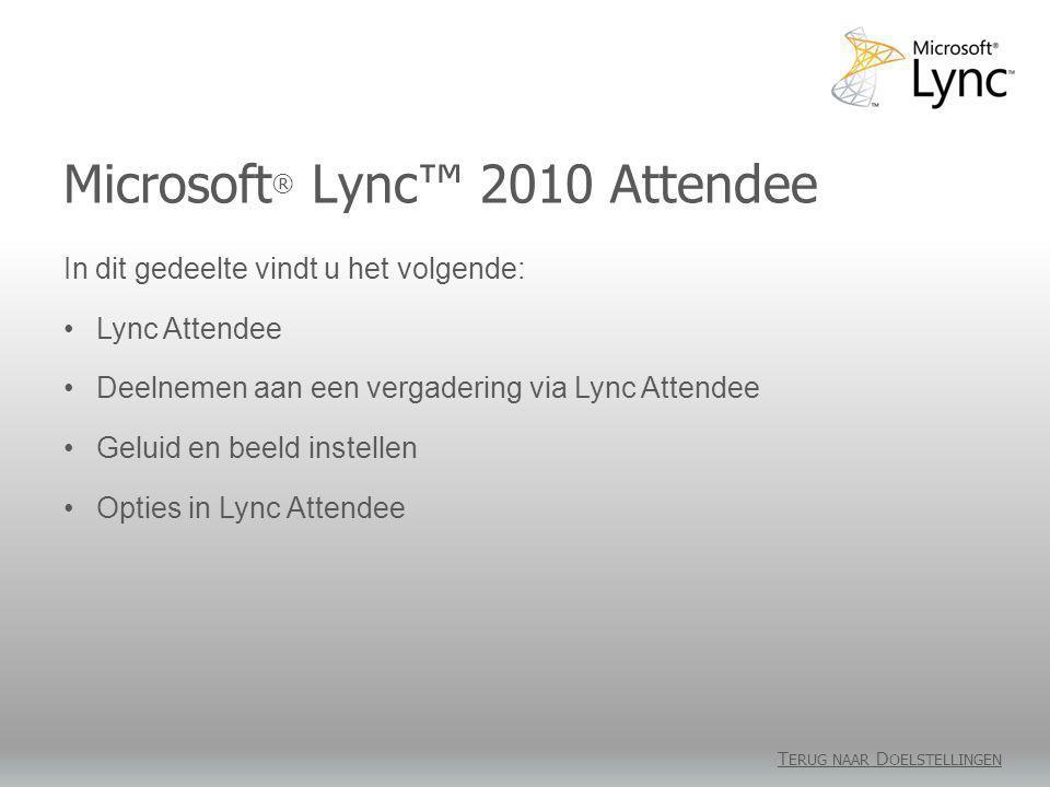 Microsoft ® Lync™ 2010 Attendee T ERUG NAAR D OELSTELLINGEN In dit gedeelte vindt u het volgende: •Lync Attendee •Deelnemen aan een vergadering via Ly