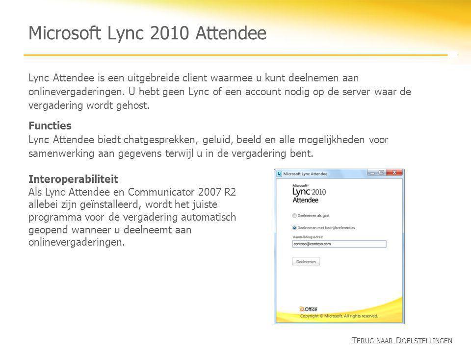 Microsoft Lync 2010 Attendee Lync Attendee is een uitgebreide client waarmee u kunt deelnemen aan onlinevergaderingen. U hebt geen Lync of een account