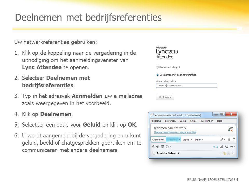 Deelnemen met bedrijfsreferenties Uw netwerkreferenties gebruiken: 1.Klik op de koppeling naar de vergadering in de uitnodiging om het aanmeldingsvens