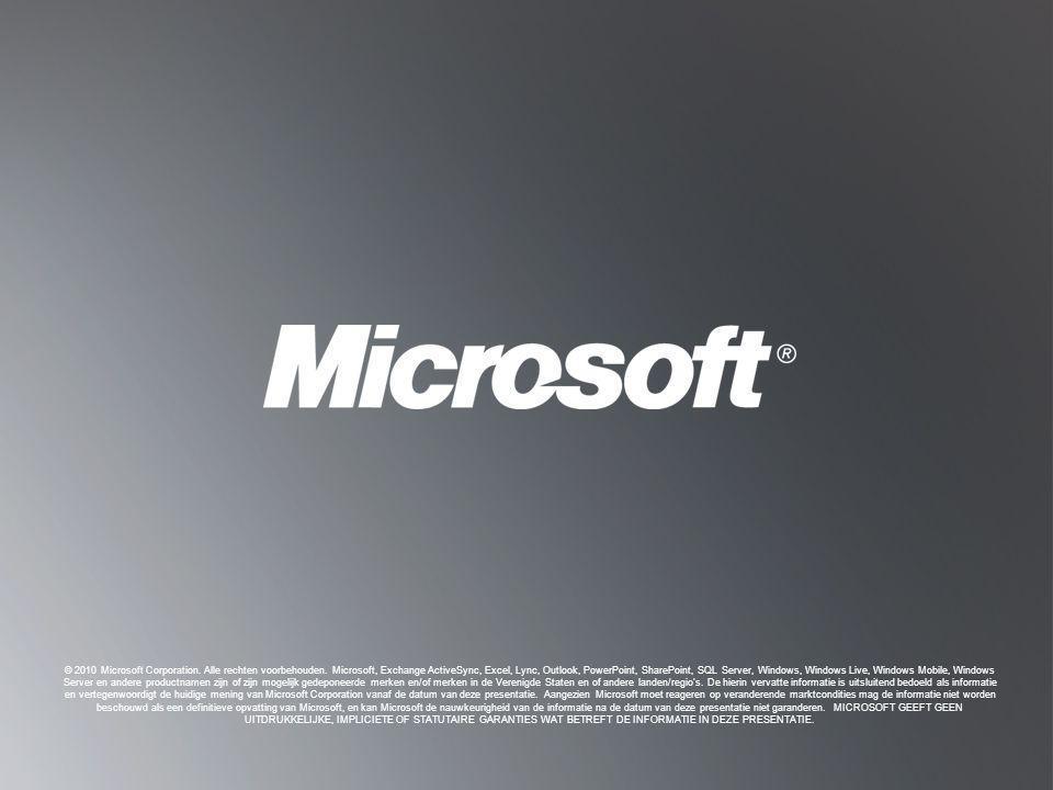 T ERUG NAAR D OELSTELLINGEN T ERUG NAAR D OELSTELLINGEN © 2010 Microsoft Corporation. Alle rechten voorbehouden. Microsoft, Exchange ActiveSync, Excel