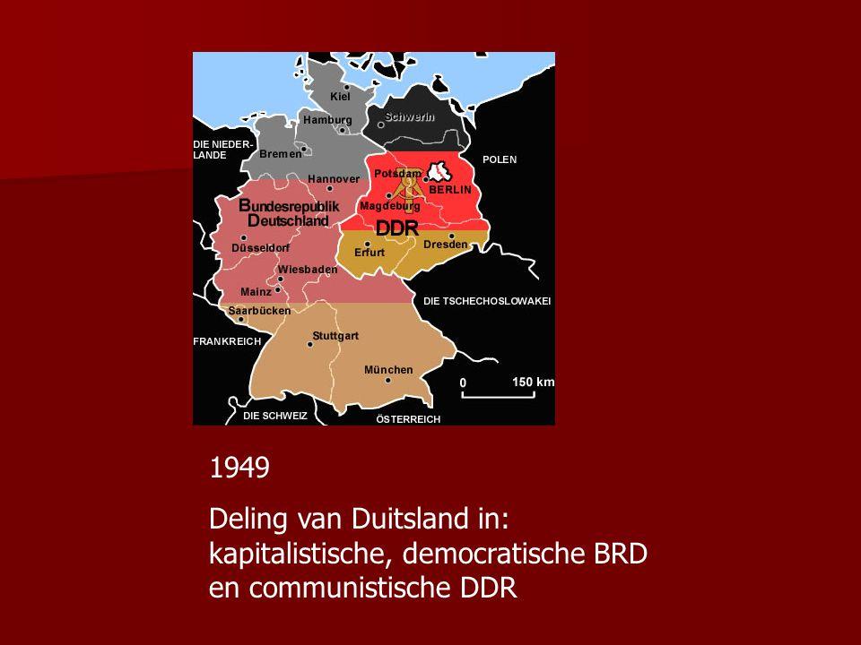 Duitsland SU wil Duitsland enorme herstelbetalingen opleggen Westerse geallieerden willen snel herstel economie Voeren nieuwe munt in 1948-1949 Blokkade van Berlijn