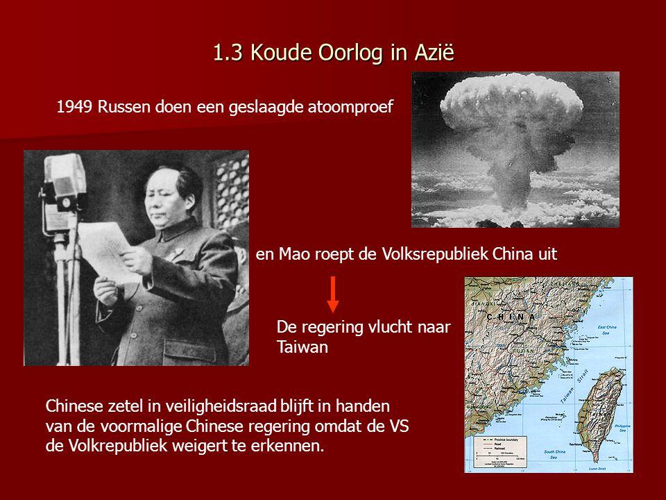 VS en bondgenoten blijven bang voor communistische wereldrevolutie Angst terecht? Sovjet Unie wel sterk leger maar straatarm; •Verzwakt door WO II •Di
