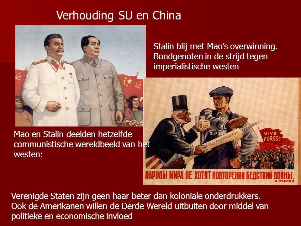 1953 † Stalin → verandering buitenlands beleid Chroestsjov voerde vanaf 1956 een politiek van vreedzame coëxistentie De strijd tussen kapitalisme en c