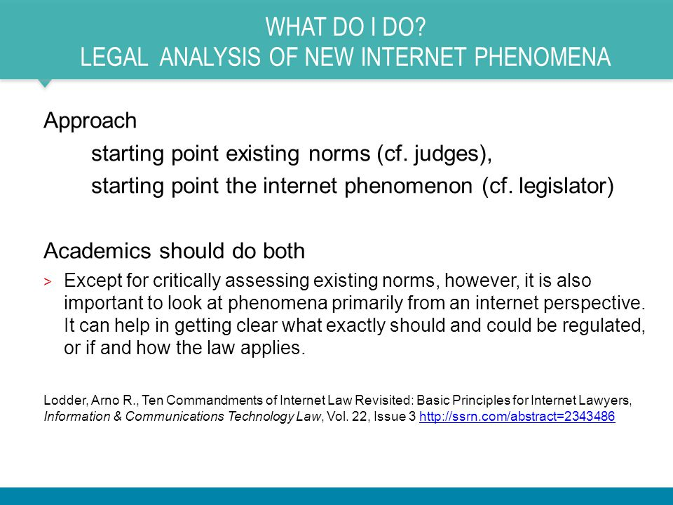 WHAT DO I DO.LEGAL ANALYSIS OF NEW INTERNET PHENOMENA Approach starting point existing norms (cf.