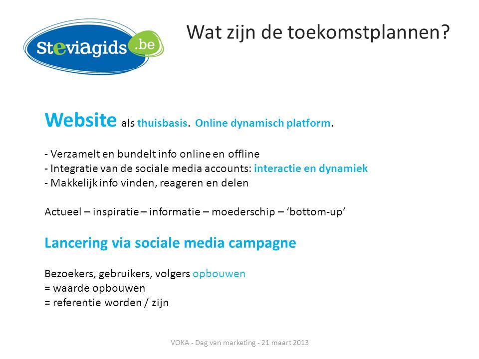 Wat zijn de toekomstplannen? Website als thuisbasis. Online dynamisch platform. - Verzamelt en bundelt info online en offline - Integratie van de soci