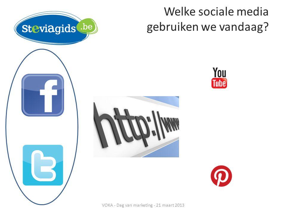 Welke sociale media gebruiken we vandaag? VOKA - Dag van marketing - 21 maart 2013
