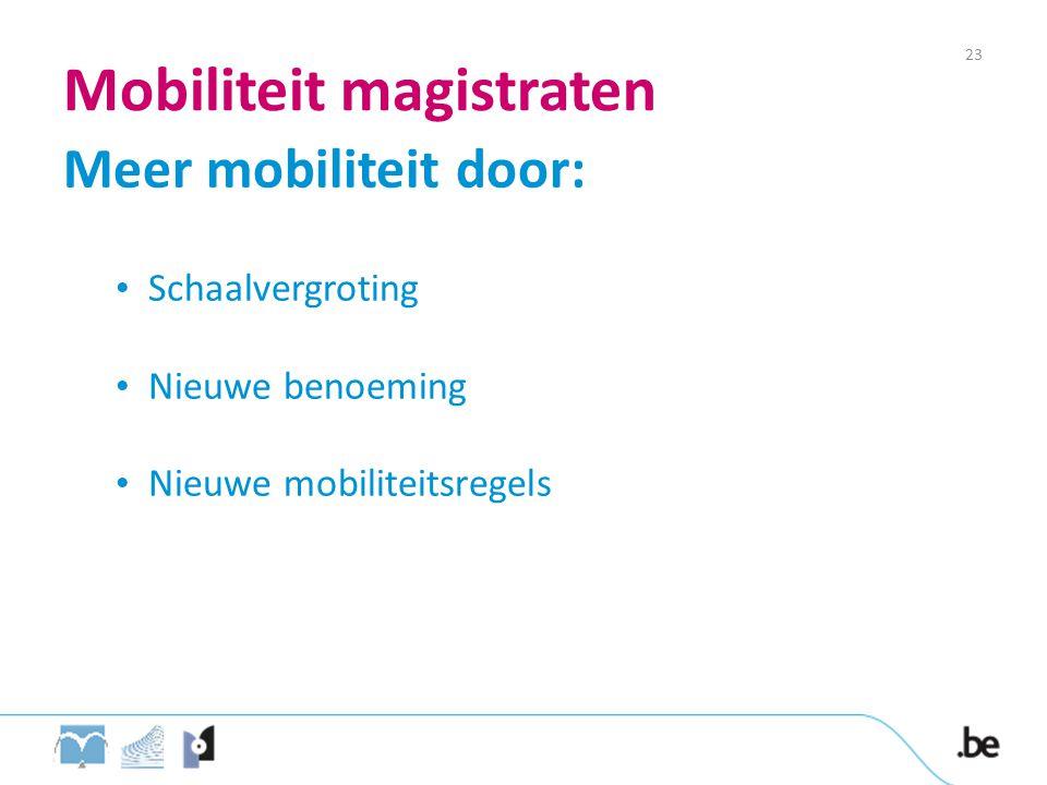 Mobiliteit magistraten Meer mobiliteit door: • Schaalvergroting • Nieuwe benoeming • Nieuwe mobiliteitsregels 23