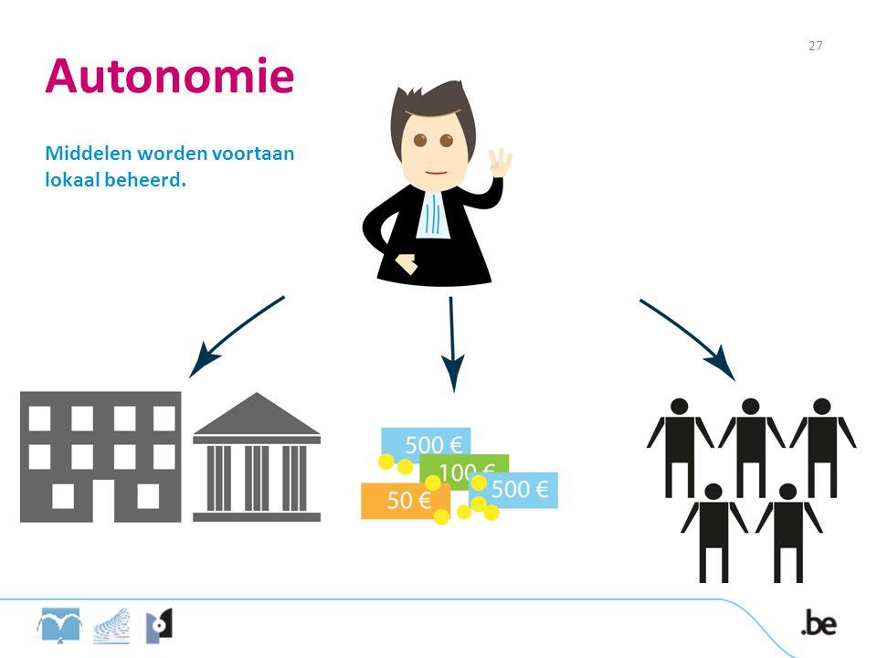 Autonomie Middelen worden voortaan lokaal beheerd. 27