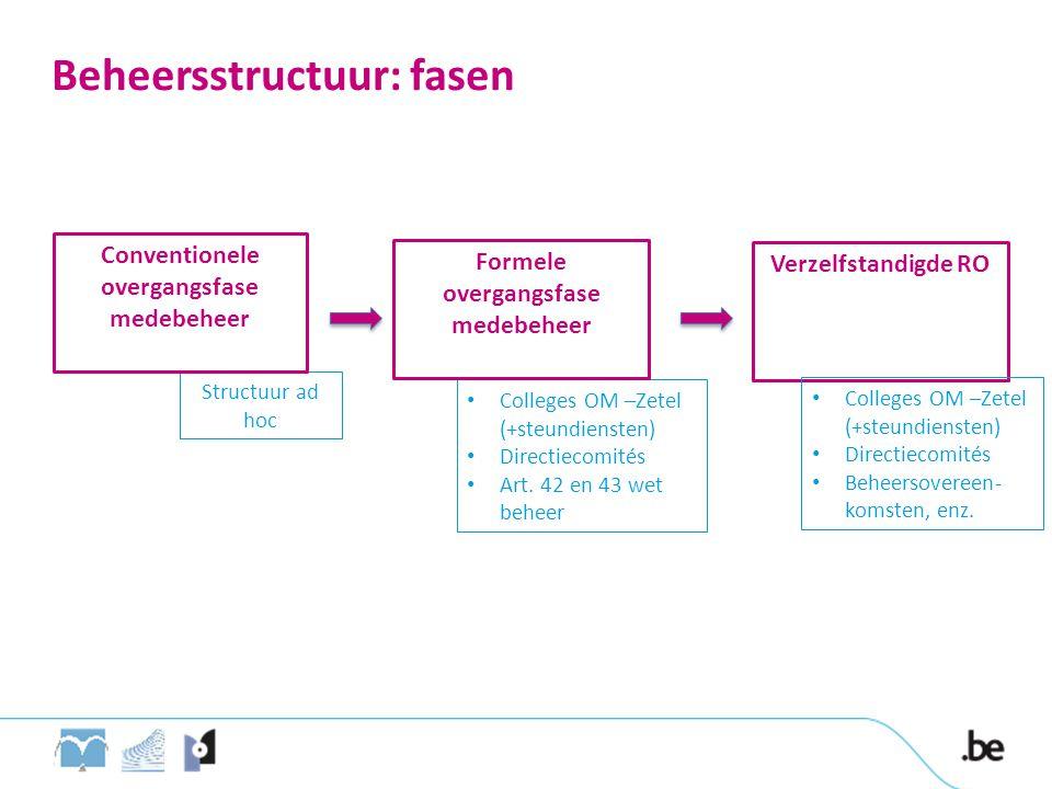 Structuur ad hoc Beheersstructuur: fasen Conventionele overgangsfase medebeheer Verzelfstandigde RO • Colleges OM –Zetel (+steundiensten) • Directieco