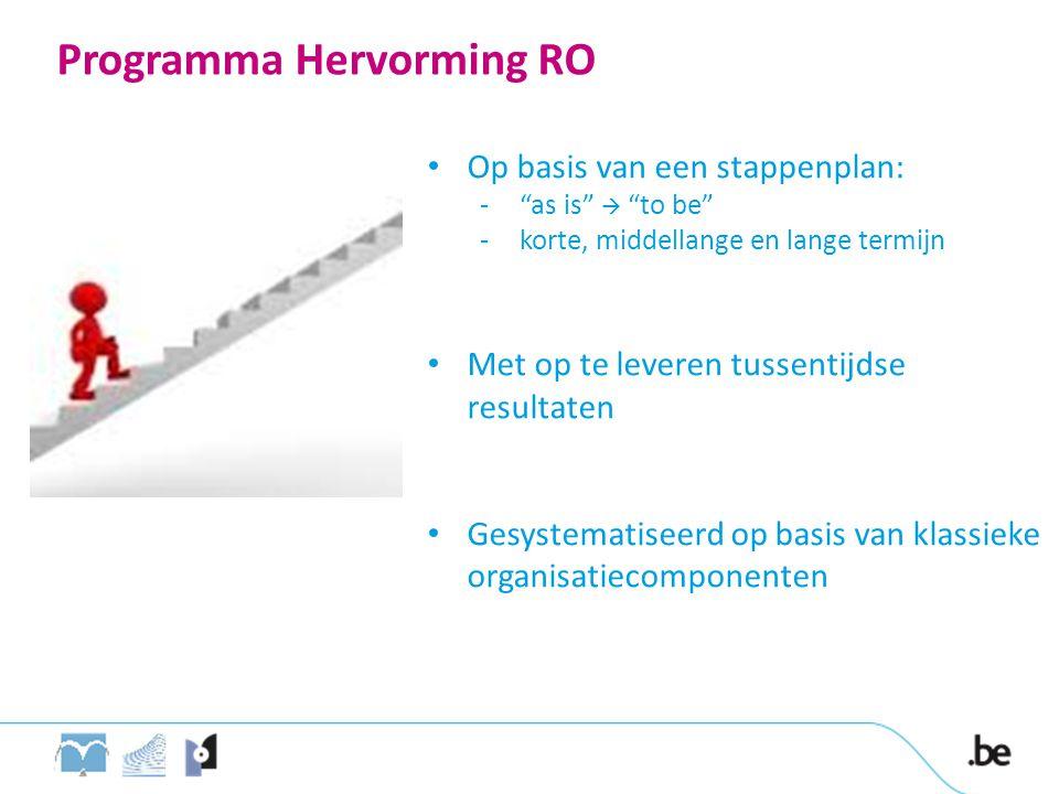 """Programma Hervorming RO • Op basis van een stappenplan: -""""as is""""  """"to be"""" -korte, middellange en lange termijn • Met op te leveren tussentijdse resul"""