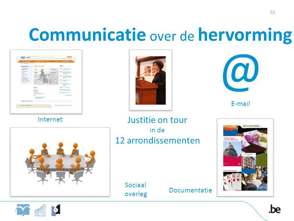 Communicatie over de hervorming Internet @ E-mail Sociaal overleg Justitie on tour in de 12 arrondissementen Documentatie 52