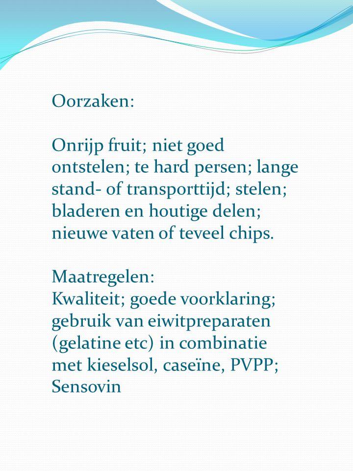 Oorzaken: Onrijp fruit; niet goed ontstelen; te hard persen; lange stand- of transporttijd; stelen; bladeren en houtige delen; nieuwe vaten of teveel