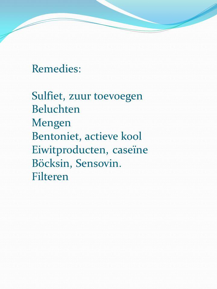 Remedies: Sulfiet, zuur toevoegen Beluchten Mengen Bentoniet, actieve kool Eiwitproducten, caseïne Böcksin, Sensovin. Filteren