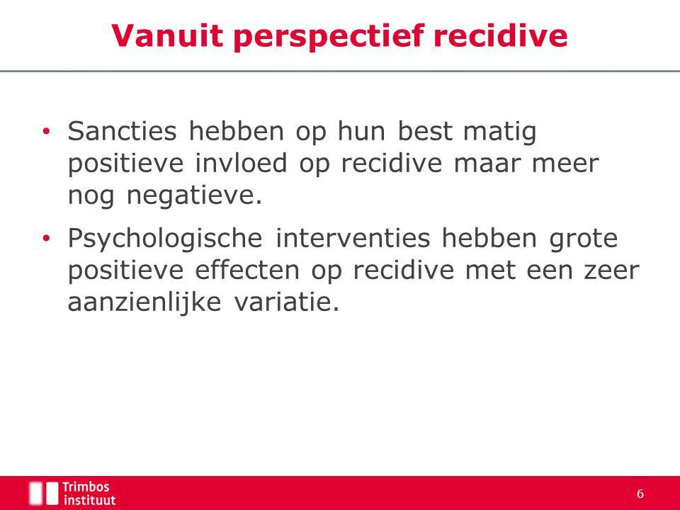 Vanuit perspectief recidive • Sancties hebben op hun best matig positieve invloed op recidive maar meer nog negatieve. • Psychologische interventies h