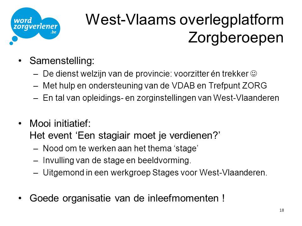 West-Vlaams overlegplatform Zorgberoepen •Samenstelling: –De dienst welzijn van de provincie: voorzitter én trekker  –Met hulp en ondersteuning van d