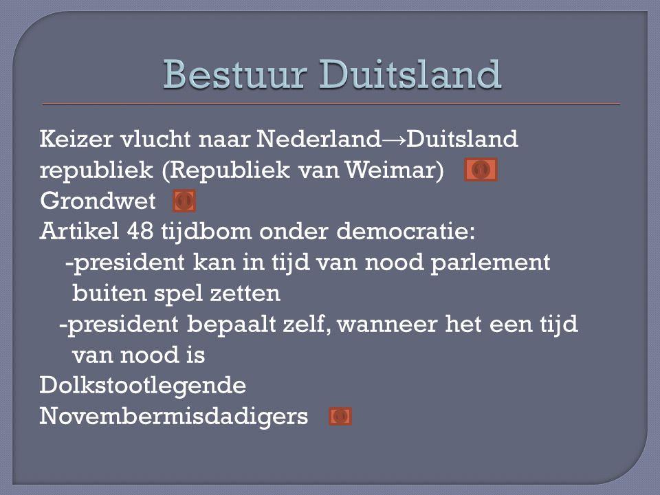 Keizer vlucht naar Nederland → Duitsland republiek (Republiek van Weimar) Grondwet Artikel 48 tijdbom onder democratie: -president kan in tijd van noo