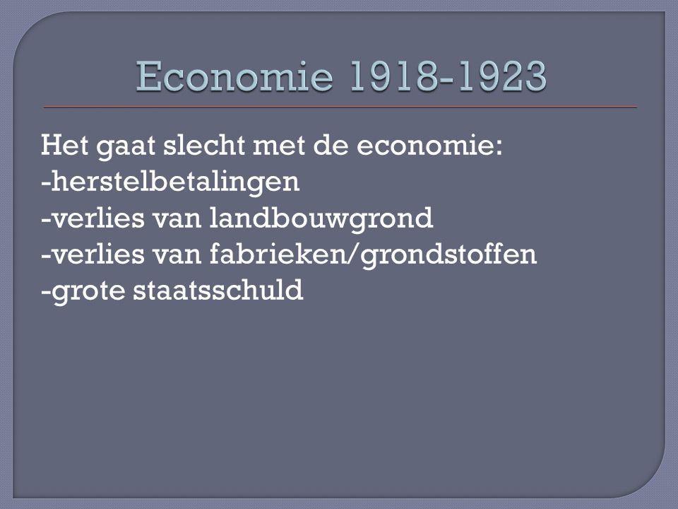 Het gaat slecht met de economie: -herstelbetalingen -verlies van landbouwgrond -verlies van fabrieken/grondstoffen -grote staatsschuld