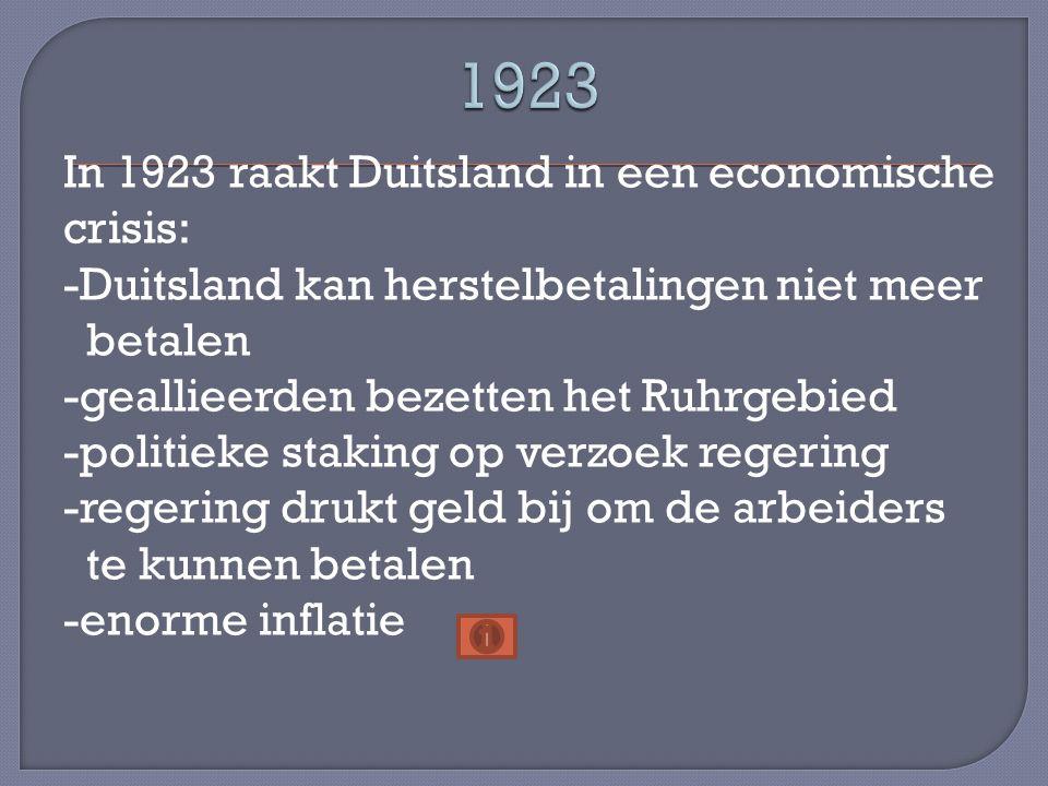In 1923 raakt Duitsland in een economische crisis: -Duitsland kan herstelbetalingen niet meer betalen -geallieerden bezetten het Ruhrgebied -politieke