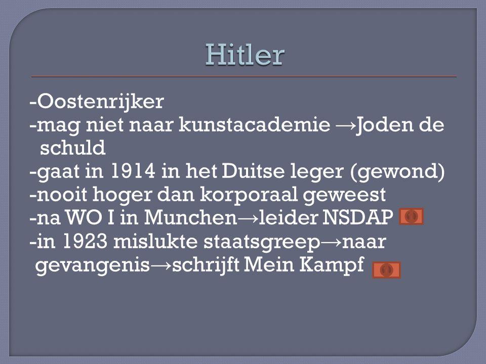 -Oostenrijker -mag niet naar kunstacademie → Joden de schuld -gaat in 1914 in het Duitse leger (gewond) -nooit hoger dan korporaal geweest -na WO I in